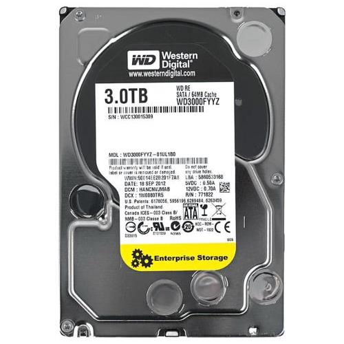 WD3000FYYZ Western Digital 3TB 7200RPM SATA 6.0 Gbps 3.5 64MB Cache RE Hard Drive