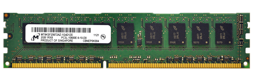 Micron 2GB PC3-10600 DDR3-1333MHz ECC Unbuffered CL9 240-Pin DIMM 1.35V Low Voltage Single Rank Memory Module MT9KSF25672AZ-1G4D1ZE