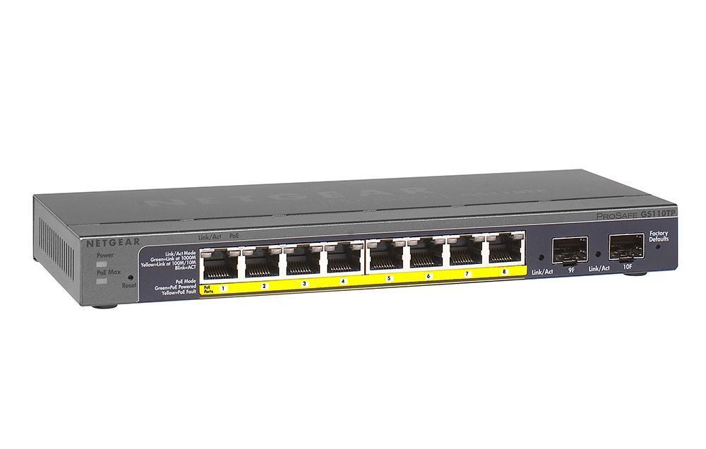 GS110TP100NASOB NetGear Prosafe 8-Ports Gigabit Poe Smart Switch with 2x Gigabit Fiber SFP Ports (Refurbished)
